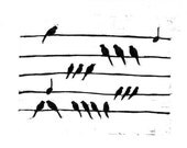 Like notes, Like music linocut print illustration black and white art
