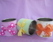 CHILDREN  FABRIC Tin Cans Decoupage Pencil Holders Flower Pots  Hair Accessories  Holders