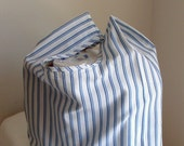 Handmade and Washable Market Bag DOUBLE BLUE STRIPE Reusable Recycled Upcycled Shopping  Tote Grocery Bag