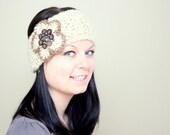Buttons and flower Headband