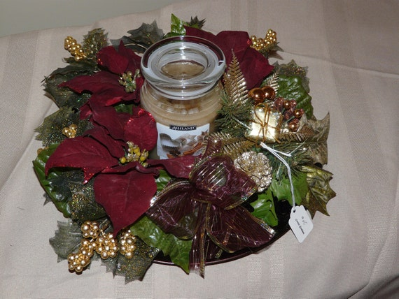 Items similar to burgundy and gold poinsettia centerpiece