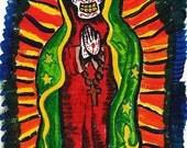 ORIGINAL-Virgin Mary Muertos- Acrylic Painting W/ Frame