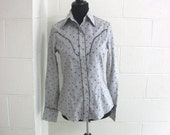 VIntage H bar C Western Shirt Grey Floral Pearl Snap Buttons 1970s Deadstock size small