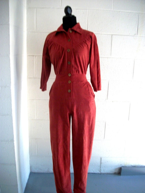 Vintage Western Jumpsuit Rust Ultra Suede size small
