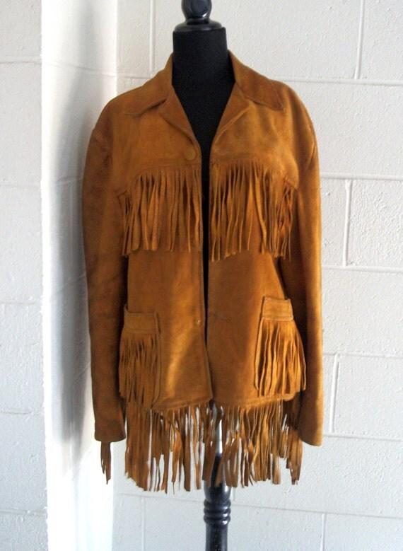 Vintage jacket Distressed Leather Fringe Western Butterscotch. Mens