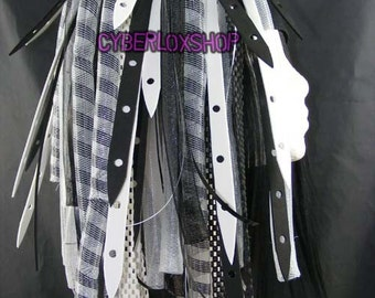 Cyberlox Dread Goth White Black WhiteWeb Hair Falls