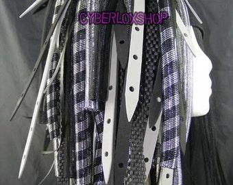 Cyberlox Dread Goth Silver Black SilverWeb Hair Falls