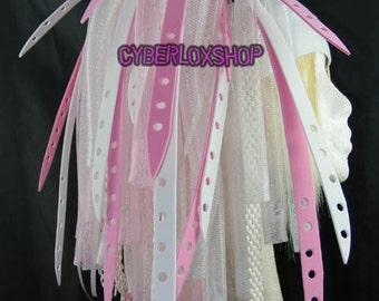 Cyberlox Dread Goth Baby Pink White PinkBleach Hair Falls
