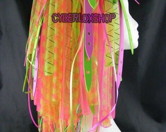 Cyberlox Dread Goth Neon Pink Neon Green DuoWeb Hair Falls