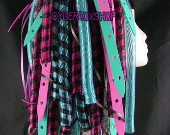 Cyberlox Dread Goth Pink Aqua Blue DuoWeb Hair Falls