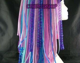 Cyberlox Dread Goth Pink Blue Helix Hair Falls