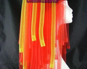 Cyberlox Dread Goth Red Yellow Gemini Hair Falls