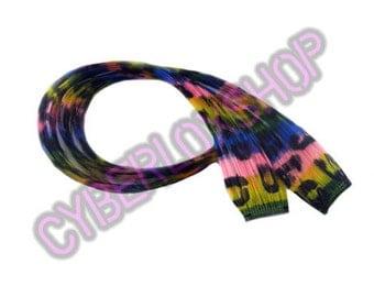 "Clip-In 12"" Hair Extensions Rainbow Stripe Leopard Print Emo Scene"