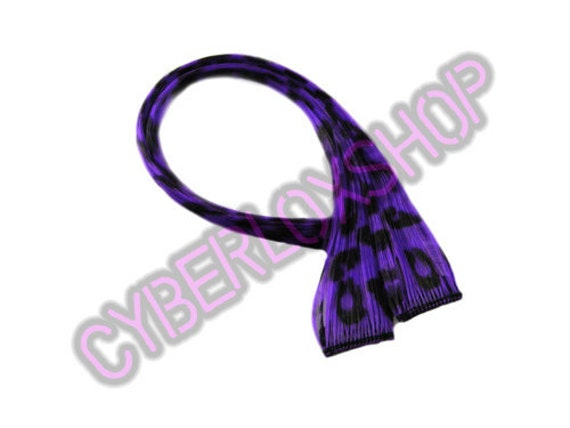 "Clip-In 12"" Hair Extensions Purple Leopard Print Emo Scene"
