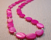 Hot Pink Mother of Pearl and White Pearl Necklace
