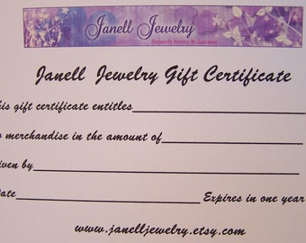 30 Dollar Gift Certificate for Janell Jewelry on Etsy