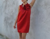 Plush hot  red dress-tunic with a large red, handmade flower