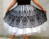 Women  Specialty Sizes Unique Tutu crochet  Skirt  Black and white (plus size)L...xL fit to... xxxxL