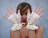 Gloves Mittens  Women Accessories short ivory  elegant fingerless gloves