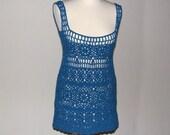Crochet mini dress/tunic Cyan...fits S...M...L...