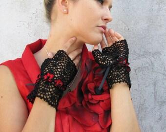Gloves Mittens  Women Accessories short elegant BLACK with RED crochet flowers fingerless gloves