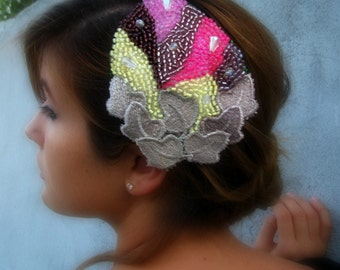 Princess Handbeaded Leaf-Shaped Hair Comb, gatsby style