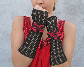 Gloves Mittens  Women Accessories Long Black elegant gloves with red crochet flowers