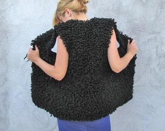 Women  Outerwear handmade MuST HaVe Hand Crocheted Black Fuzzy Sweater vest ... M/L/XL/XXL