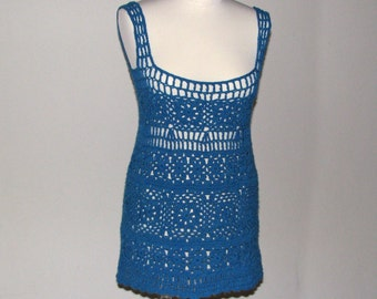 Crochet mini dress/tunic Cyan...fits S...M...L...