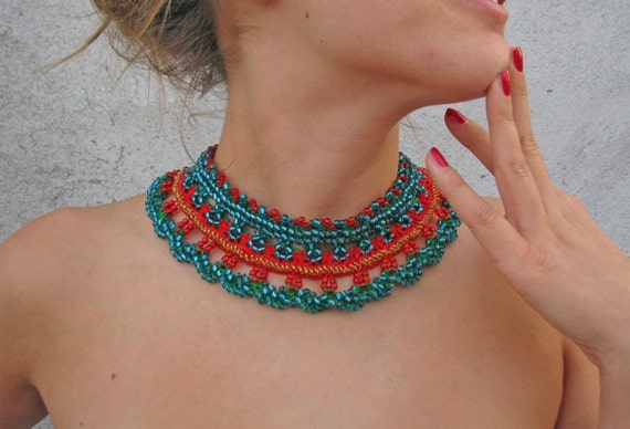 Jewelry / Necklaces  Beadwork Beaded Crochet Necklace