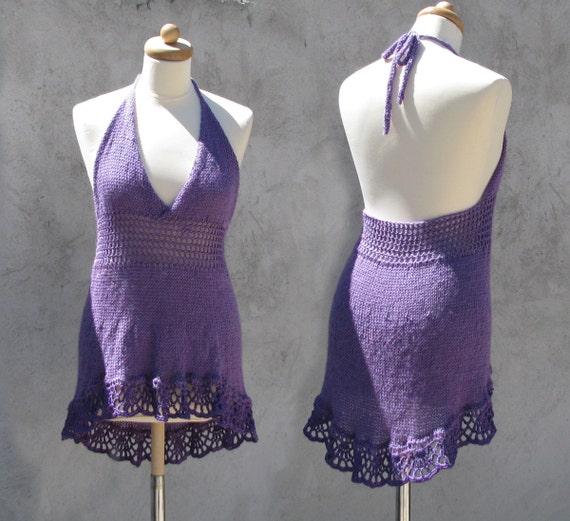 Hand knitted PURPLE MINI tunic/dress M/L/XL