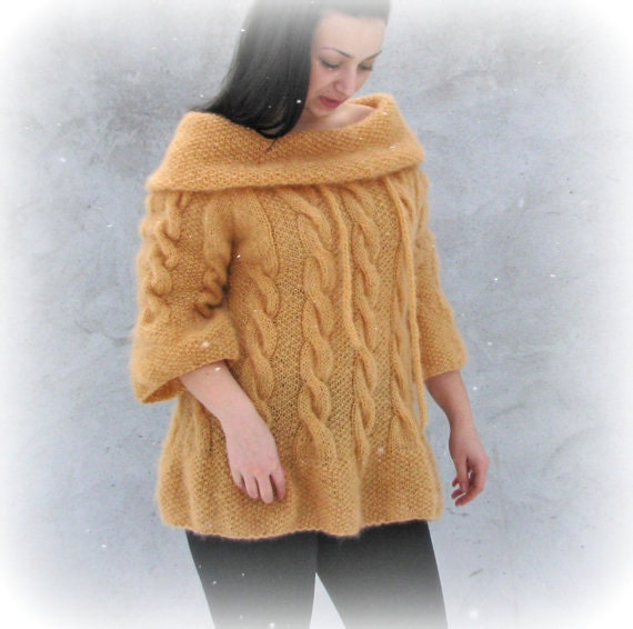Women tops Sweaters & Cardigans Hand knit Sweater  3/4 sleeves L/XL