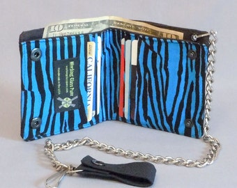 Vegan Chain Wallet Black and Blue Stripe, Black Canvas, Fabric Pockets, Detachable Chain