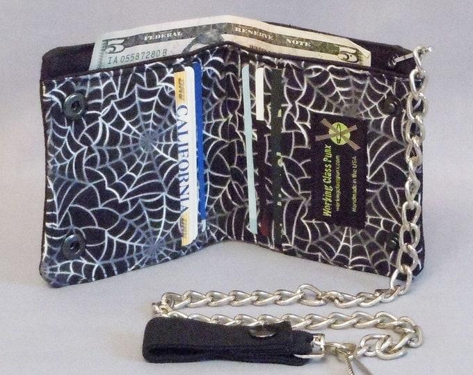 SALE Vegan Chain Wallet Spider Webs Black Canvas, 16 Inch Detachable Chain, Halloween Goth Punk, Black White Gray