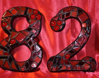 Custom Made Stained Glass Mosaic House Numbers - Your Color Choice  (These are many shades of reds / color samples only)
