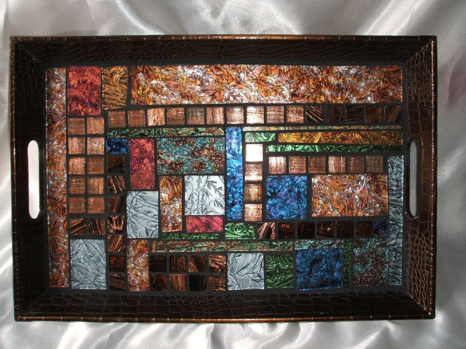 Mosaic Serving Tray W Van Gogh Stained By Wisecrackinmosaics