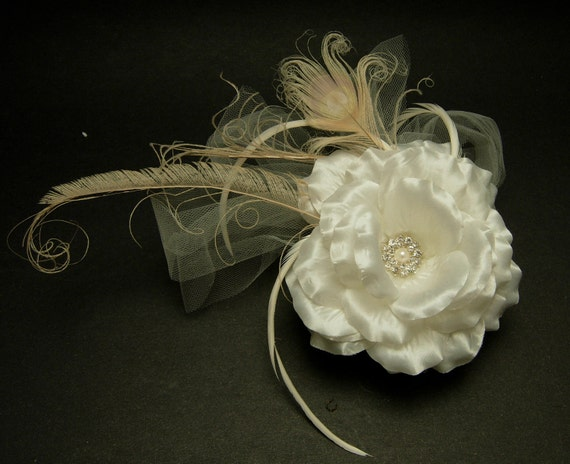 SALE - Satin flower hair fascinator with peacock feathers and rooster bigots.