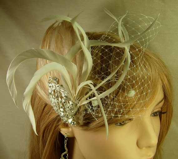 Bridal hair fascinator, bridal head piece, bridal hair piece, feather fascinator