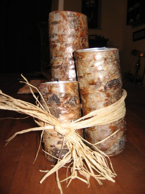 Birch Candle Holders, Set of 3