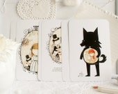 Set of 6 friendly postcards - Free Worldwide shipping