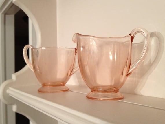 Pink Depression Glass Sugar and Creamer Set