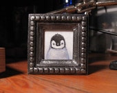 Little Penguin Hand Painted Miniature Portrait - Framed