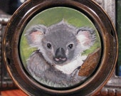 Koala Miniature Locket Portrait w/ Compact Mirror