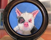 Handpainted Piglet Portrait Picture Locket
