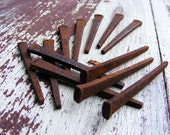 Reserve Listing for Laura 100 Square Cut Nails Assemeblage Art Steampunk Rusty Vintage Nails Rustic Country Decor