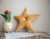 Gold Velvet Star Pillow with Vintage Shell Buttons Accent Throw Cushion