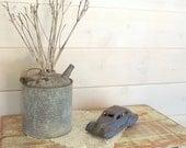 Vintage Fuel Can / Galvanized Can / Grey Metal Can / Industrial Decor / Rustic Farmhouse Decor / Antique / Wedding Decor / Garage Prop