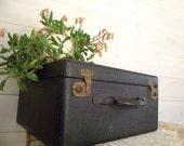 Black Leather Suitcase with Key Antique Hardcase 1930s Home Decor Photo Prop Wedding Decor