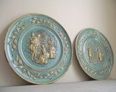 Decorative Wall Plates Set of 2 Vintage Elpec Metal Relief Victorian English Street Scene Plates
