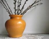 Dutch Pottery Vase Prosman Pottery Holland Tan Orange Glaze Mothers Day